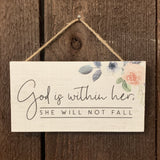 """GOD IS WITHIN HER"" PETITE WOOD HANGING SIGN"