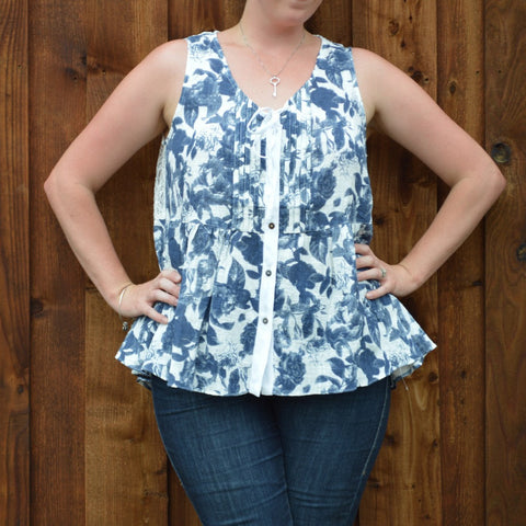 NAVY FLORAL BUTTON UP TOP WITH BACK LACE YOKE