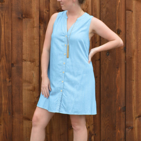 CHAMBRAY BUTTON UP DRESS WITH LACE BACK