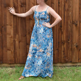 BLUE SMOCKED TOP MAXI DRESS
