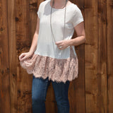 PINK LACE SHORT SLEEVE TOP