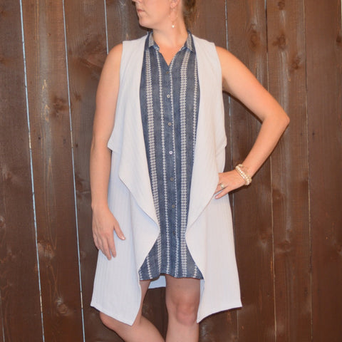 DRAPE COLLAR LONG VEST