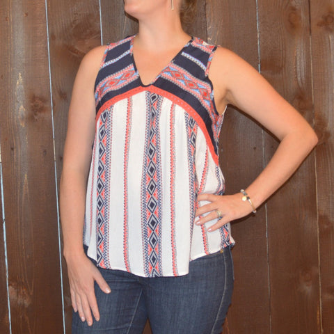 MULTI PRINT SLEEVELESS TOP WITH TOPPED ON LACE