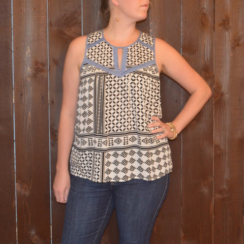 MULTI PRINT SLEEVELESS TOP WITH CHAMBRAY TRIM