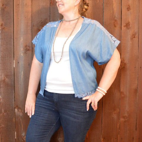 CHAMBRAY AND LACE CARDIGAN