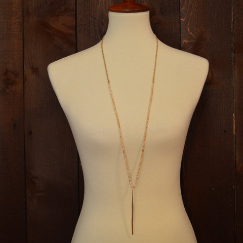 NEUTRAL CRYSTAL NECKLACE WITH GOLD BAR 36""