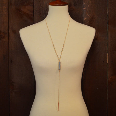 GREY DRUZY NECKLACE WITH GOLD BAR 30""