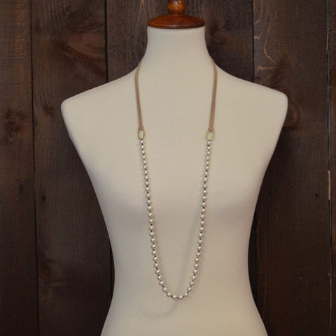 PEARL AND LEATHER NECKLACE 42""