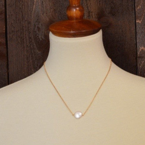 FRESHWATER COIN PEARL NECKLACE 18""