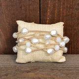 TAN STRAPS WITH PEARL BEAD BRACELET