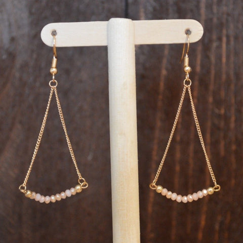 PEACH BAR DROP EARRING