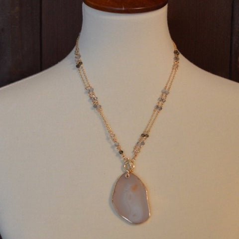 NATURAL CRYSTAL & STONE ADJUSTABLE NECKLACE