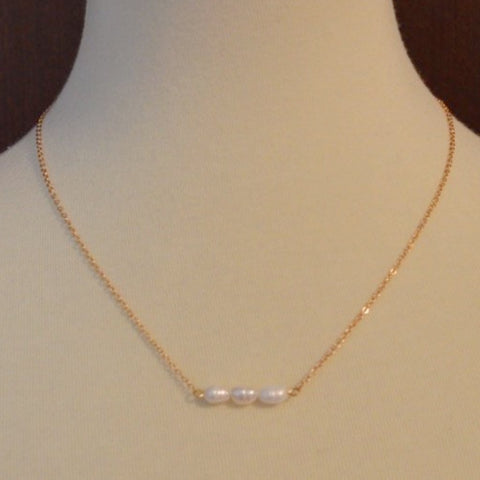 FRESHWATER 3 PEARL BAR NECKLACE 18""
