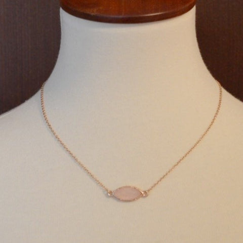 GOLD NECKLACE WITH MINI LT. PINK STONE 18""