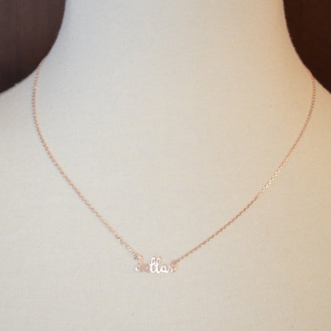 ROSE GOLD DALLAS SCRIPT NECKLACE 18""