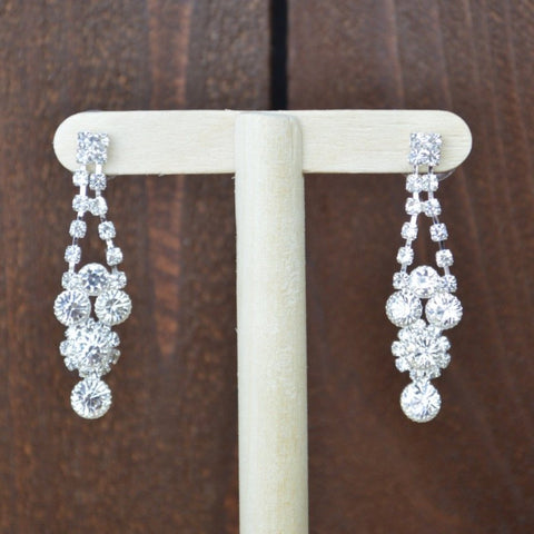 SILVER RHINESTONE STATEMENT EARRINGS