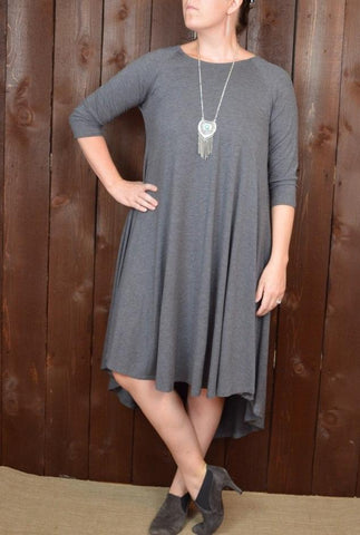 HEATHER GREY 3/4 SLEEVE SWING DRESS WITH HI/LOW HEM