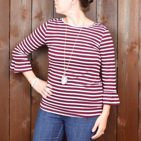 BURGUNDY AND WHITE STRIPE 3/4 SLEEVE TOP