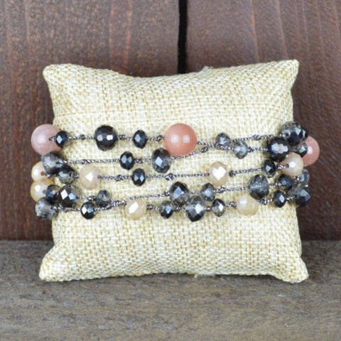 PINK STONE AND TAN CRYSTAL MAGNETIC BRACELET