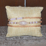 PINK MINI STONE AND CRYSTAL BEADED WRAP BRACELET