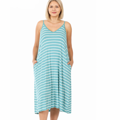 MINT STRIPE ADJUSTABLE STRAP MEDI DRESS