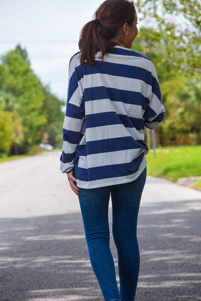 Navy Striped BF Tee