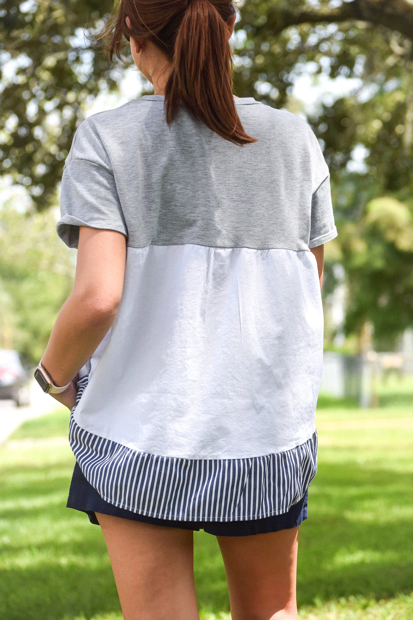 Grey & Striped Contrast Top