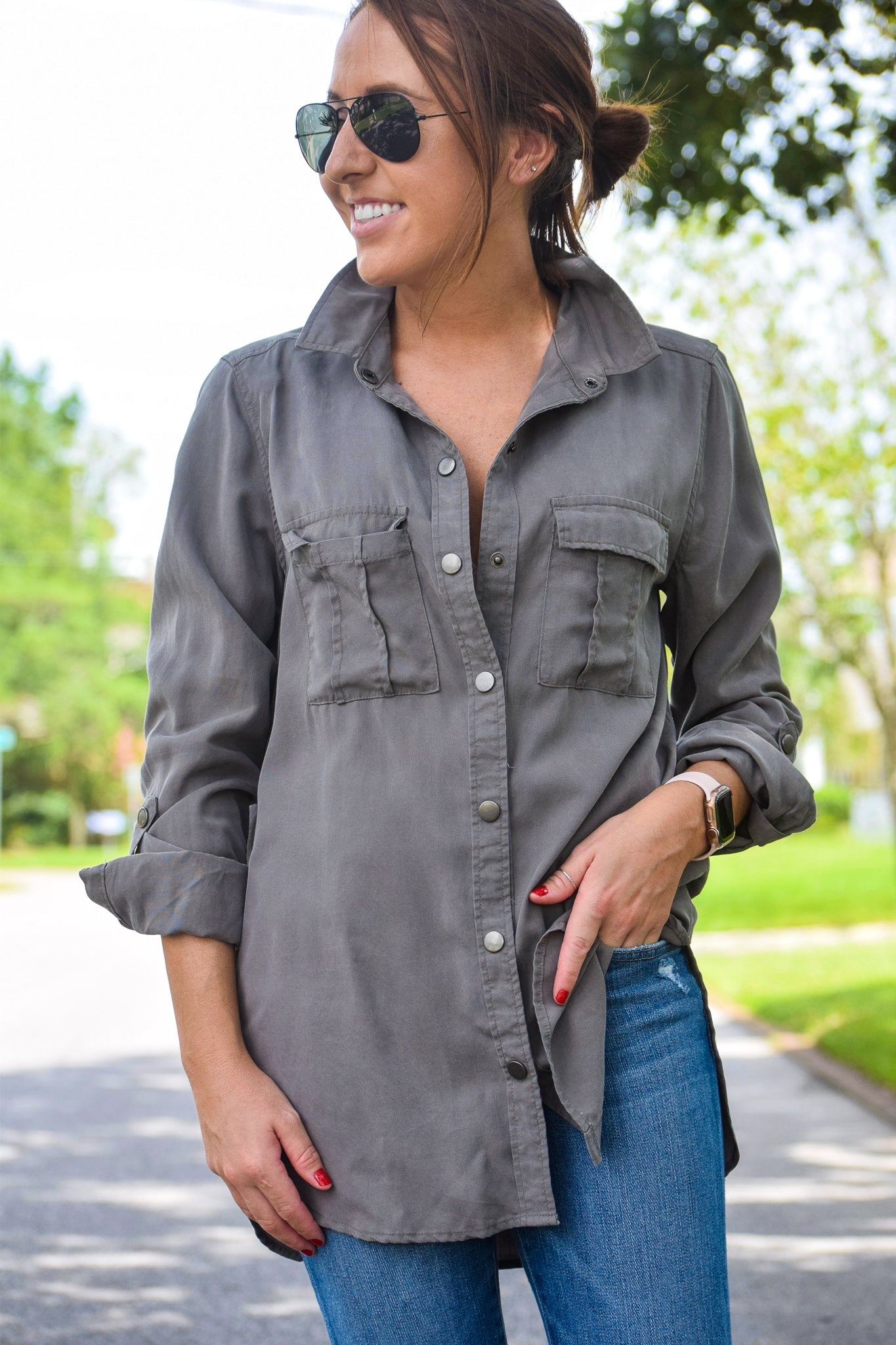 Dark Grey Safari Button-Up