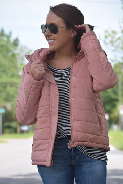 Rose Puffer Jacket w/ Faux Fur Trim