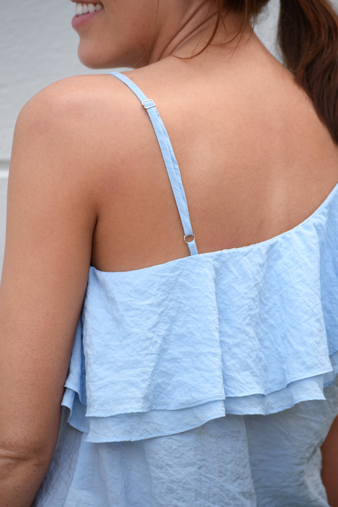 woven one shoulder top