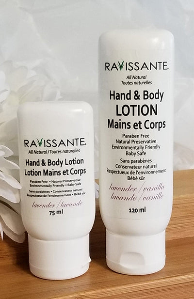 Hand and Body Lotion All Natural - Lavender and Lavender/Vanilla,  75 ml and 120 ml sizes