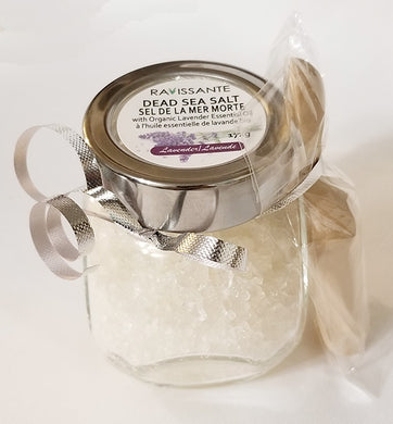 Dead Sea Salt & Organic Lavender Essential Oil - w/ Wooden Scoop