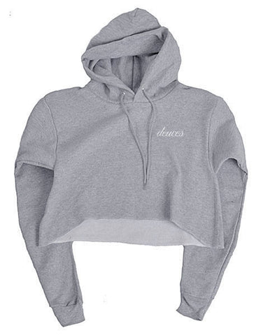 Mel Joy Deuces Crop Hoodie	Heather Grey