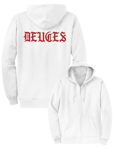 Mel Joy Old Deuces Zip Hoodie-White