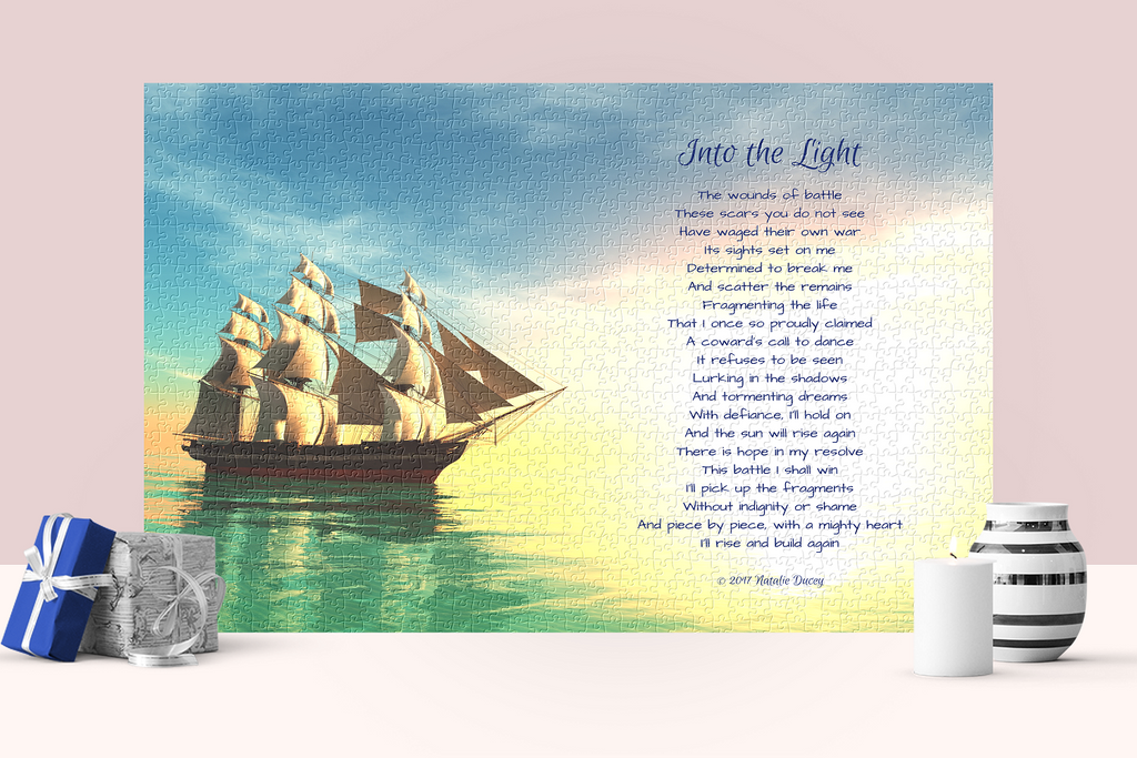 Into the Light - inspiration, poetry, puzzle - living and coping with mental illness, PTSD