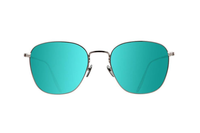 SPACE IS THE PLACE - WHITE GOLD DALLOZ FLAT TURQUOISE MIRROR LENSES