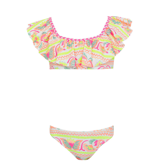 Sunuva Girls White Neon Peruvian Stitch Off Shoulder Bikini