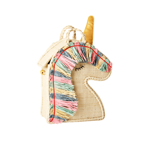 RICE Small Unicorn Raffia Bag