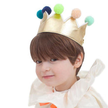 Load image into Gallery viewer, Meri Meri Gold Pom Pom Crown