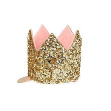 Load image into Gallery viewer, Meri Meri Mini Gold Glitter Crown Hair Clip