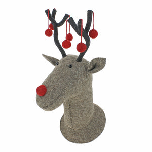 Fiona Walker Grey Reindeer Head with Red Pom Pom Antlers