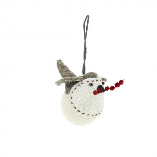 Fiona Walker Small Hanging Robin with Silver Leaf Print and Red Berries