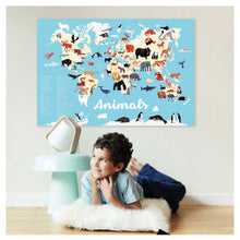 Load image into Gallery viewer, Poppik Discovery Sticker Poster Animals Of The World