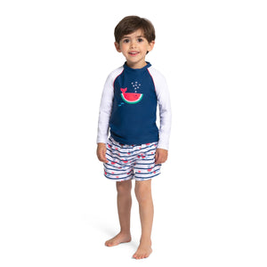 SUNUVA NAVY WATERMELON WHALE LONG SLEEVE RASH VEST