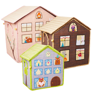 RICE Toy Basket Wood House Theme