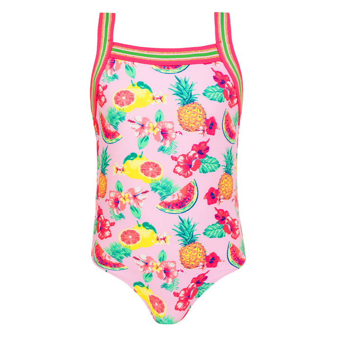 Sunuva Girls Pink Aloha Fruit Glitter Trim Swimsuit