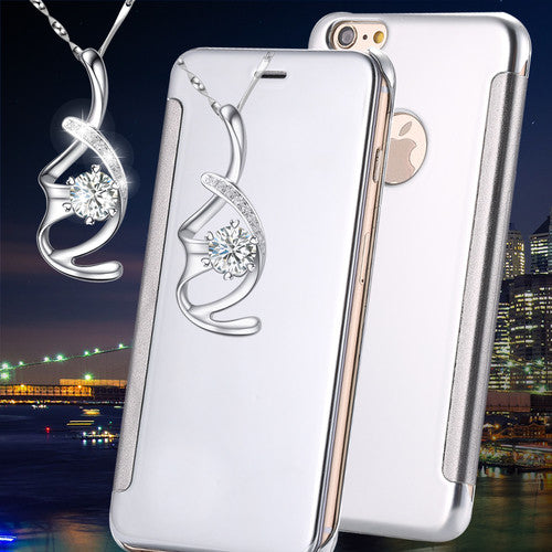 iPhone 7 Silver Colour Luxury Flip Mirror Case