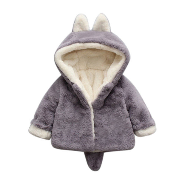Grey Wool Hooded Coat for Baby