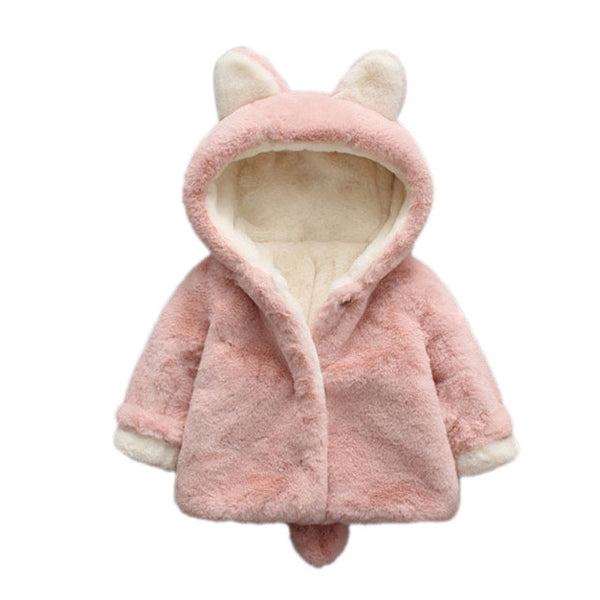 Pink Wool Hooded Coat for Baby