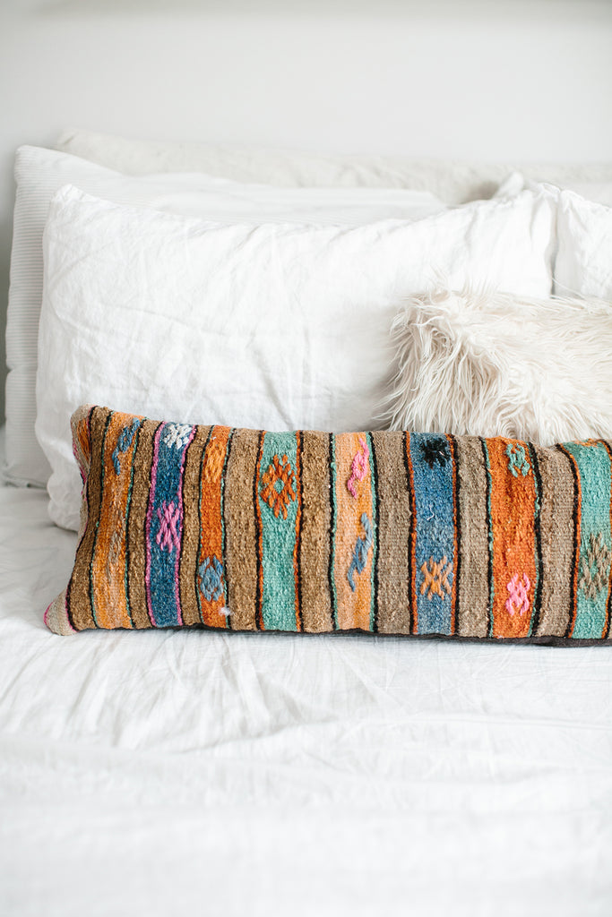 Boho style lumbar pillow for bedroom